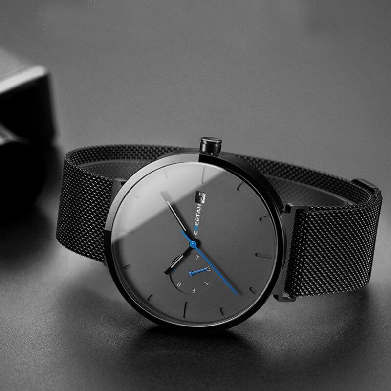 Nouvelle montre pour homme quartz pour mode décontractée Montres Étanche Bleu Point Simple Hommes Montre-Bracelet Mâle Date Semaine Horloge Relogio Masculino - 4