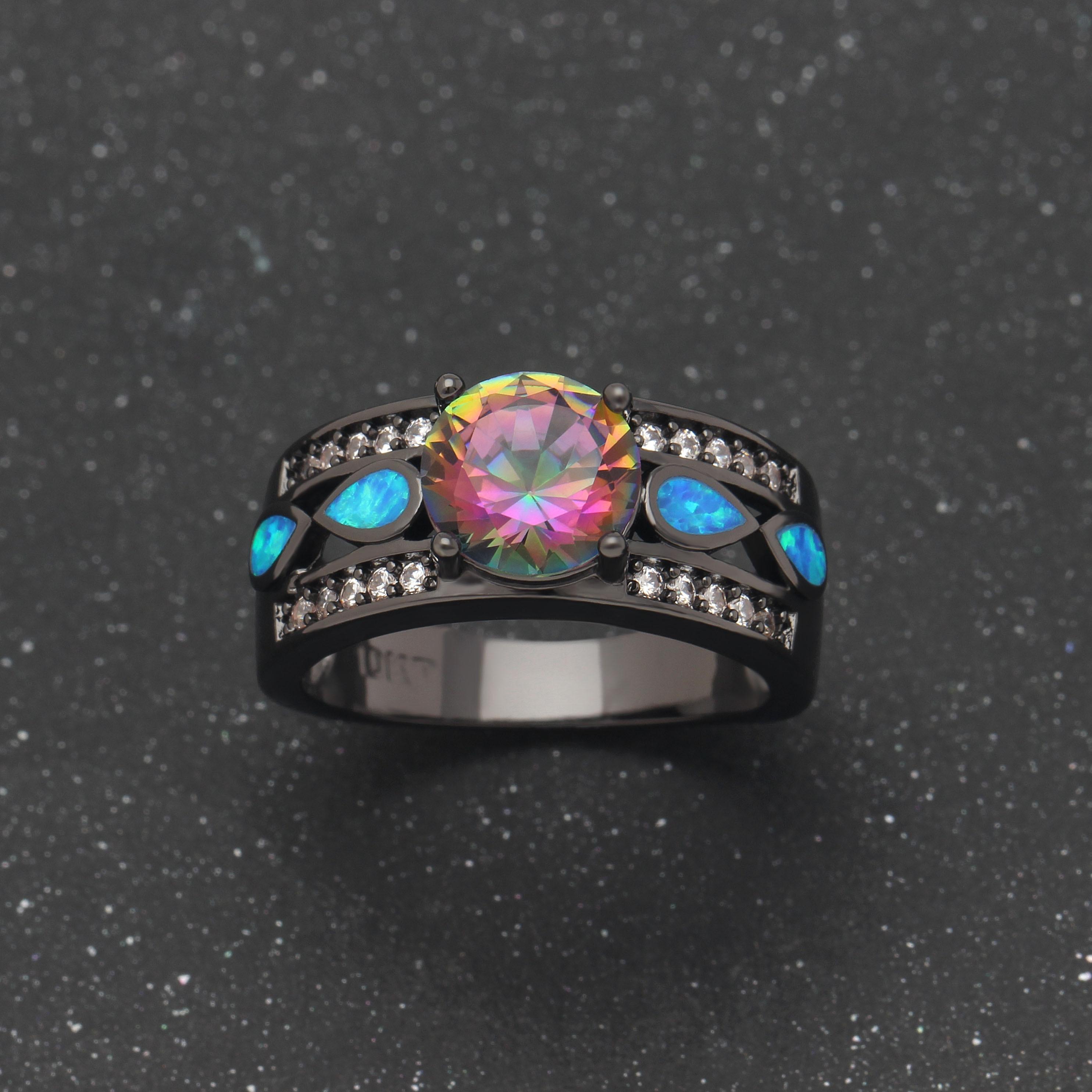 Aliexpress Buy Hainon Luxury Opal Fire Rings Jewelry Women