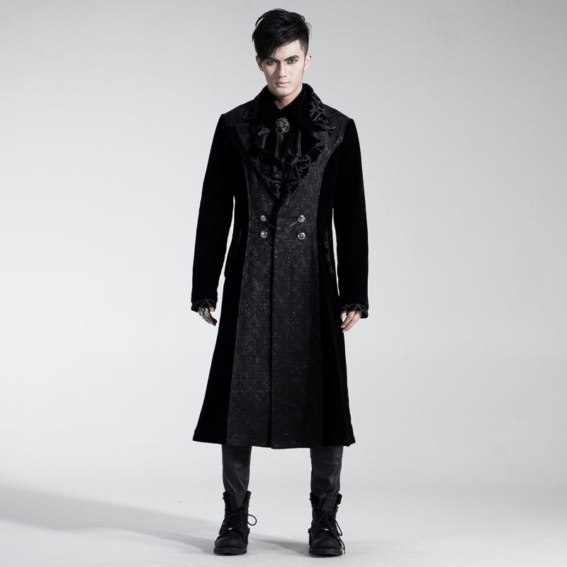 Gothic Palace Style Fancy Embroidery Long Coats Noble Trench Steampunk Men Gorgeous Embossed Coats Winter Warm Windbreakers