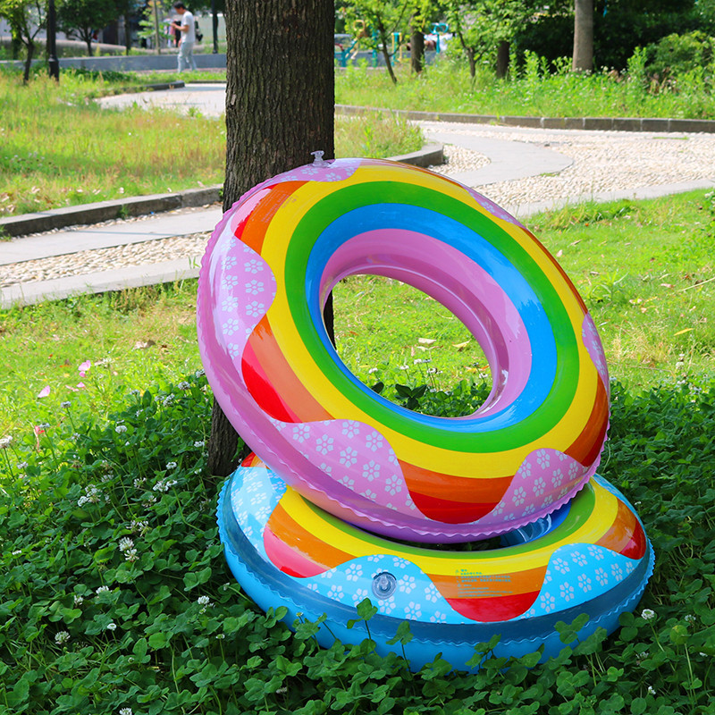 Beach Pool Swimming Ring Thickened PVC Inflatable Rainbow Adult Childrens Red Blue Swimming Circle 54cm 64cm 74cm 84cm