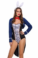 Deep Plunge Long Sleeve Catsuit Bunny Bodysuit Party Costume Erotic Lingerie Sex Products With Cape Sexy