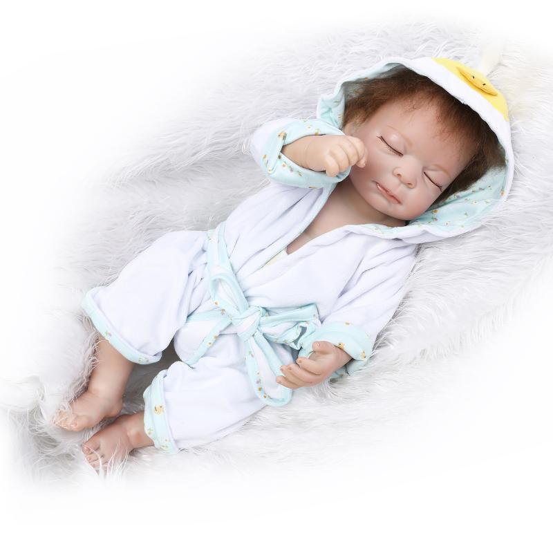 50cm Full Silicone Reborn Baby Sleeping Boy Doll Toy Vinyl Newborn Babies Bebe Reborn Doll Girls Bonecas Birthday Gift Present economic newborn baby model flexible full term baby doll