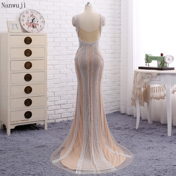 Real PhotoLuxury  Champagne Mermaid Evening Dresses With Pears Sweep Train   Sparkly Evening Gown Robe De Soiree 2018 In stock 3