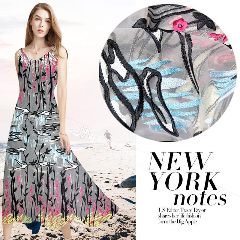 Livraison gratuite impression Jiangnan sur la nouvelle broderie dentelle broderie été boutique en ligne couture robe jupe tissus