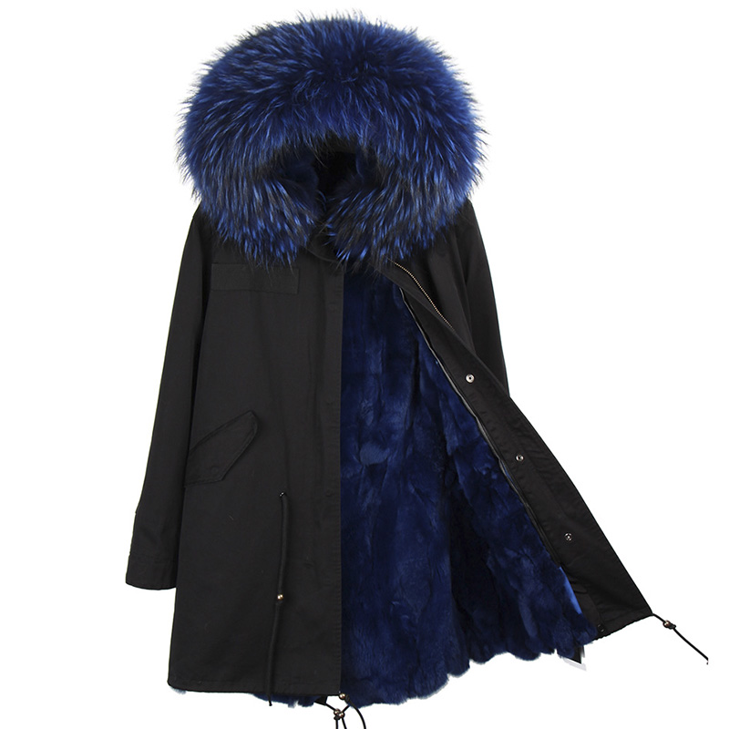2017 brand real rabbit fur coat long winter jacket women detachable raccoon big fur collar thick warm fur park