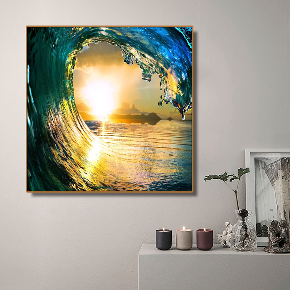 Big Sea Waves Seawater Sun Decor Wall Art Poster Print Canvas Painting Calligraphy Decorative Picture for Living Room Home Decor in Painting Calligraphy from Home Garden