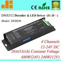 Envío Libre 4 canales LLEVÓ el Regulador RGBW DMX Decoder & Driver LED 12 V Controlador DMX DE 8036