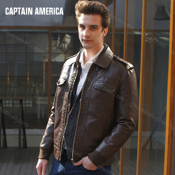 28745b9dcc9a6 Free Shipping Fashion New Marvel s the Avengers Captain America Chris Evans  Jacket brown mens casual PU leather coat jacket-in Faux Leather Coats from  Men s ...