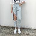 Invierno de 2016 Nuevo Novedad de La Manera Del Agujero Grande Flojo Casual Jeans Pantalones Pantalones de Invierno de Las Mujeres Más El Tamaño Stright Pantalones Vaqueros
