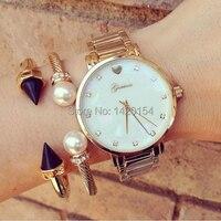 Moda Panie Genewa Masa Perłowa Wybierania Kobiet Złoty Zegarek Bransoletka Zegarek