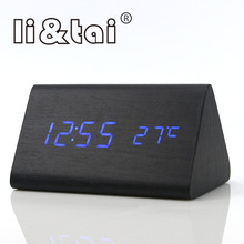 Wooden LED Alarm Clock Triangle Classic Temperature Sounds Control Calendar Electronic Desktop Digital LED Display Table Clocks стоимость