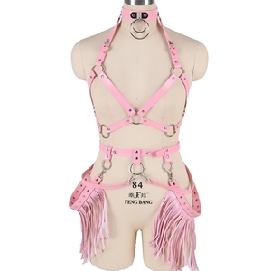 Image 3 - Harajuku Boho Tassel Pink Leather Harness Bra Women Stockings Garter Belt Strappy Top Cage Plus Size Lingerie set Rave Festival
