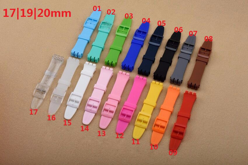 1PCS High Quality 17mm 19mm 20mm Silicone Rubber Watchband For Swatch Colorful Rubber strap plastic buckle 17 colors-RB0115 все цены
