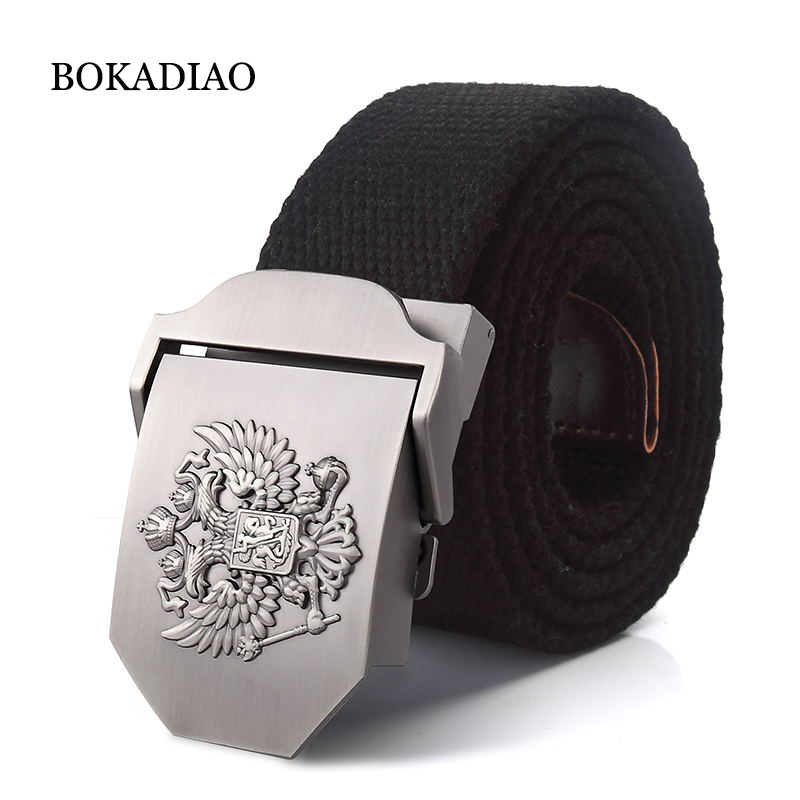 BOKADIAO Men&Women Military Canvas   belt   Russian National Emblem Metal buckle jeans   belt   Army tactical   belts   for Men strap male