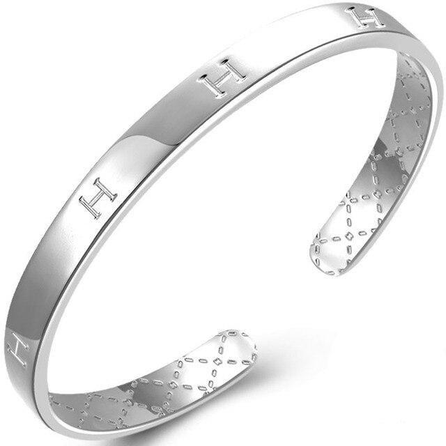 Fine 999 Silver Bangle Bracelet Female Models Letter Bracelet Fine Jewelry Robira Wholesale Simple Pure Silver Bangls