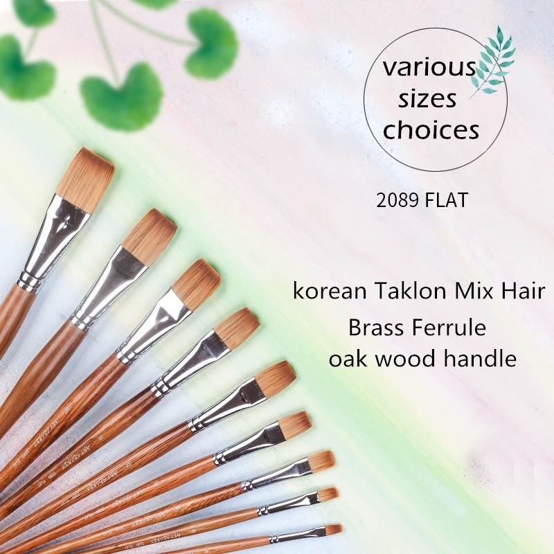 2089F 1PC High Quality Synthetic Hair Oak Wooden Handle Paint Brushes Artistic Painting Art Brush For Acrylic And Oil Drawing