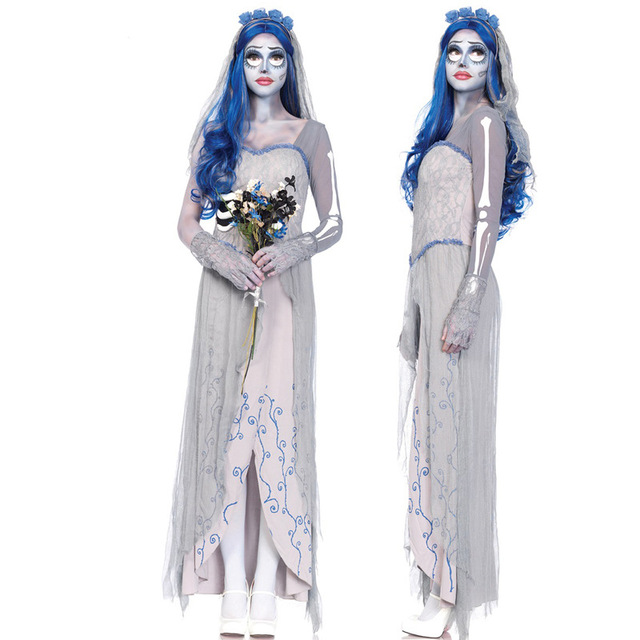 c465e8acfd75 Di Tim Burton Corpse Bride Vestiti Da Cosplay Fantasma Zombie Sposa Costumi  Vampiro di Halloween Abiti