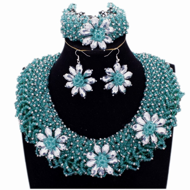 DUDO JEWELRY Costume African Jewelry Set Nigerian Wedding Teal Green Jewellery Sets for Women With Silver Water Drop Flowers NewDUDO JEWELRY Costume African Jewelry Set Nigerian Wedding Teal Green Jewellery Sets for Women With Silver Water Drop Flowers New