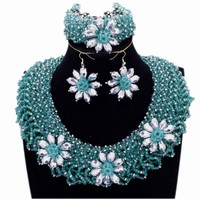 DUDO JEWELRY Costume African Jewelry Set Nigerian Wedding Teal Green Jewellery Sets for Women With Silver Water Drop Flowers New