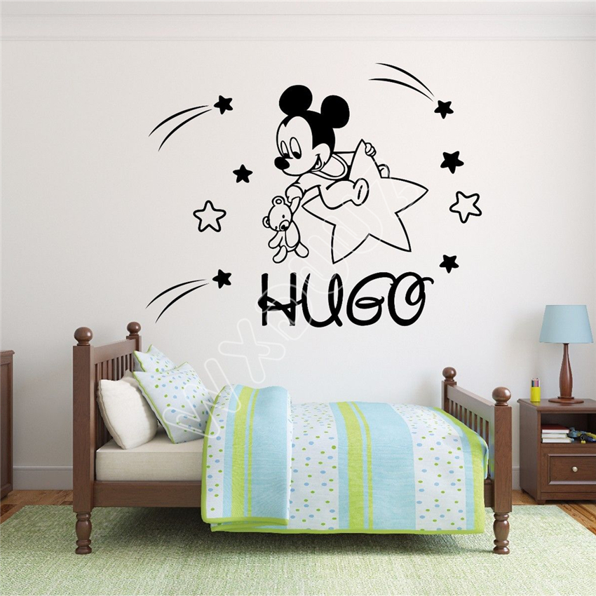 . WXDUUZ Custom Name Mickey Mouse Wall Decal Decor For Kids Childs living  room space Vinyl Wall Sticker Home Decor B378