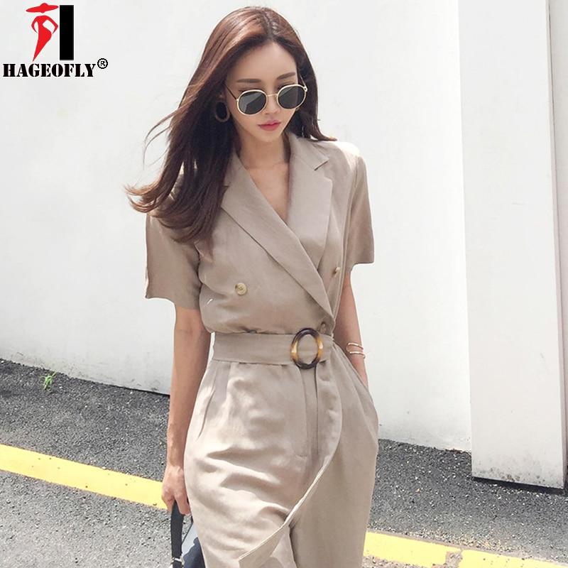 17d7d3f4b HAGEOFLY Autumn Jumpsuits Korean OL Elegant Fashion Full Length Straight  Slim Casual Lace Up Khaki Women s Jumpsuits 2018 New