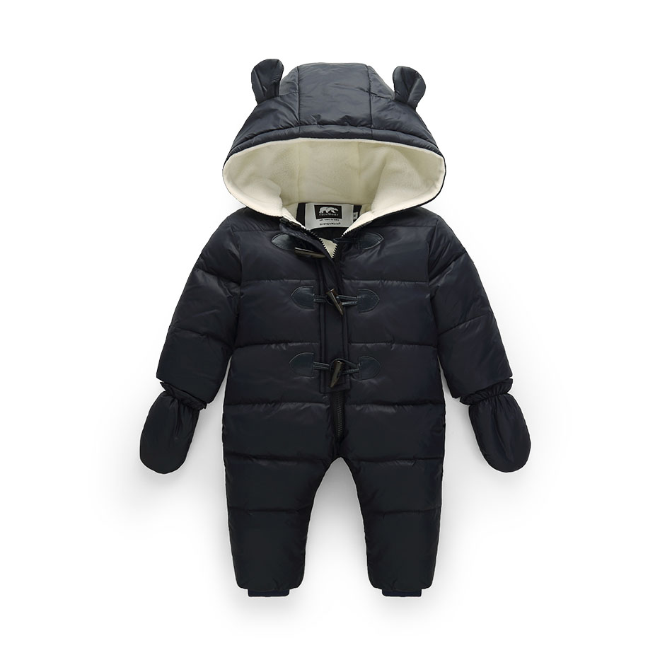 -30 Russian winter baby boy snowsuit 90% duck down infant snow jacket waterproof + fleece thick jumpsuit for childrens jacket