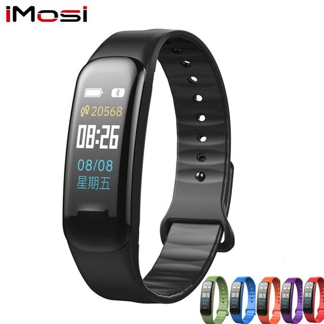 Pulsera inteligente Imosi C1Plus, pulsera inteligente deportiva con control del ritmo cardíaco y de la presión sanguínea y pantalla a Color para Android e IOS