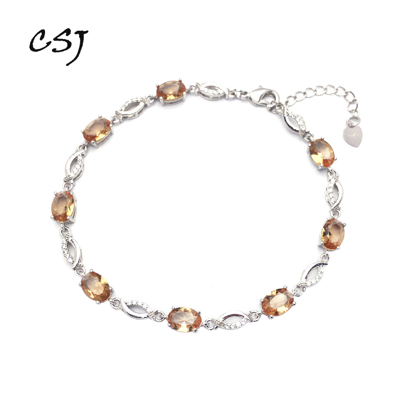 CSJ Zultanite Bracelet Sterling 925 Silver Oval Cut Created Sultanite Color Chance Fine Jewelry Women Wedding Party Gift