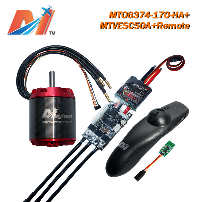 Maytech metal <font><b>brushless</b></font> <font><b>motor</b></font> <font><b>6374</b></font> <font><b>190kv</b></font> and quad bike super esc based on VESC and e scooter remote with (3PCS) image