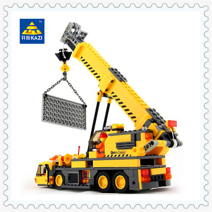380Pcs City Engineering Crane Lift Model Building Block Toys KAZI 8045 Educational Figure Gift For Children Compatible Legoe lepin 22001 pirate ship imperial warships model building block briks toys gift 1717pcs compatible legoed 10210