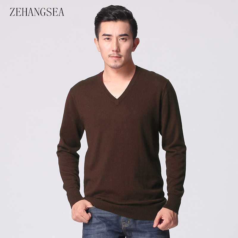 ZEHANGSEA-Men's Winter Pullover V-neck Multi-color New Sweater Fabric Comfortable Casual Loose Men's Shirt-Free Shipping