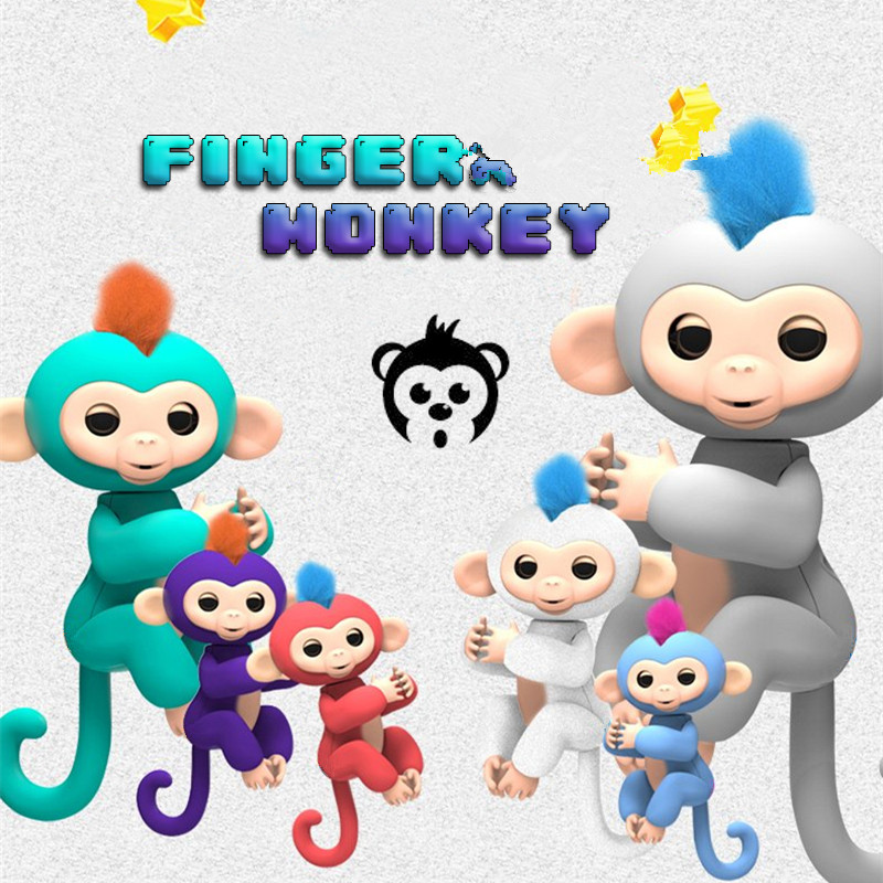 6 Color Finger Monkey Interactive Pet Toys For Children Smart Fingers Smart Induction Toys Christmas Gift Kid finger baby monkey tri fidget hand spinner triangle metal finger focus toy adhd autism kids adult toys finger spinner toys gags