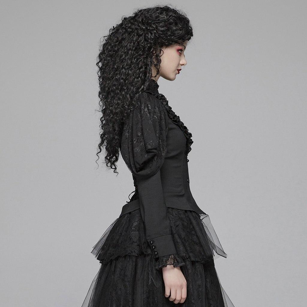 EQ нежный цельный кружевной полупрозрачный женский длинный рукав с воланом блузка женская кружевная рубашка весна осень - 3