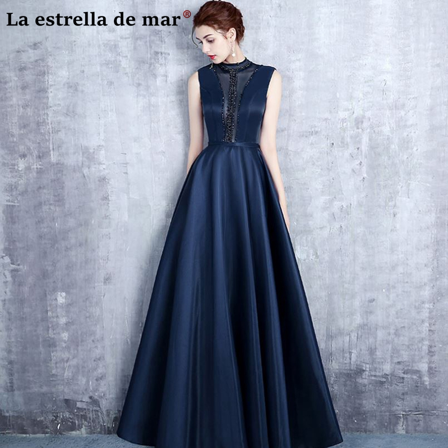 Vestido De Madrinha Casamento Longo New High Neck Lace Crystal A Line Navy Blue Bridesmaid Dresses Pretty Wedding Party Groom