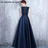 Vestido de madrinha de casamento longo new high neck lace crystal a Line navy blue bridesmaid dresses pretty wedding party groom