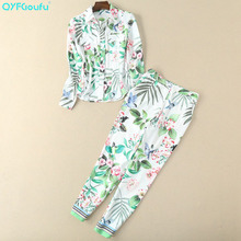 QYFCIOUFU High Quality 2 Piece Set Women Pant And Top Printed Long Sleeves Blouses + Fashion Casual Runway Floral Pants
