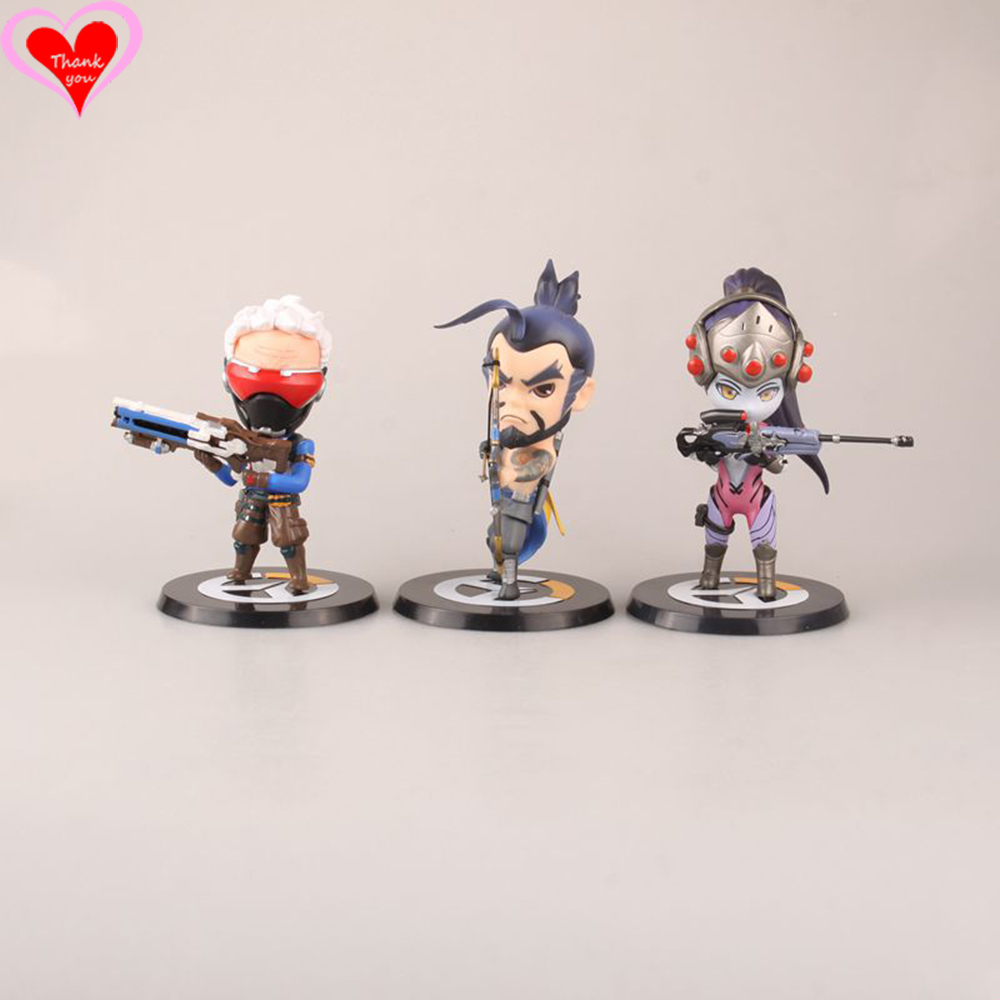 Love Thank You OW over game watch  Soldier 76 Hanzo Widowmaker cute figure toy Collectibles Model gift doll