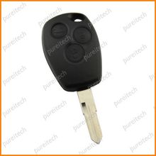 TYUI 20pieces/lot No Logo 3 Buttons Car Key Replace For Renault Logan Remote Key Covers Fob With Battery Clip
