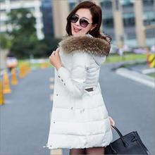 2016 New Fashion winter coat women With Hood down Cotton parkas large fur collar slim winter jacket women down jacket size M-3XL