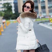 2016 Новая Мода зимнее пальто женщин С Капюшоном вниз Хлопка парки большой меховой воротник тонкий зимняя куртка женщин вниз куртка размер M-3XL