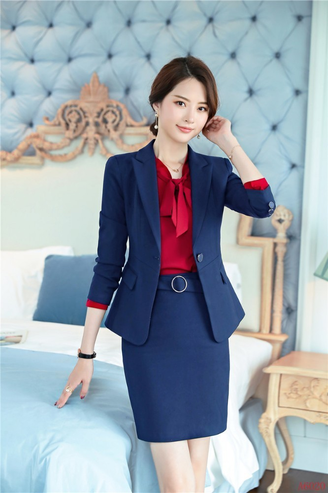 Ladies Office Professional Women Business Suits With Skirt And Blazer Coat 2019 Spring Autumn OL Styles Blazers Uniforms