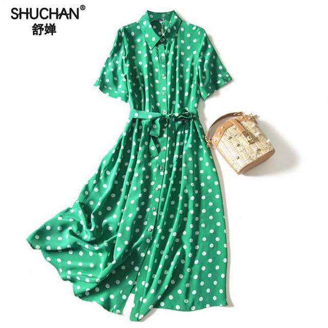 Shuchan 100% Natural Silk New 2019 Fashion Summer Dresses Women Short Sleeve Green Sashes Turn-down Collar Polka Dot Dresses
