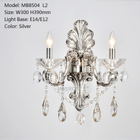 Classical Gold Crystal Wall Light Sconces Crystal Light Fixture 2 Arm Silver Home Lighting Wall Bracket luminaria bathroom light
