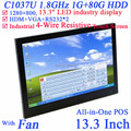 13.3 inch All-in-One POS industrial 4-wire resistive touchscreen embeded PC 1280*800 1G RAM 80G HDD Windows or linux installed
