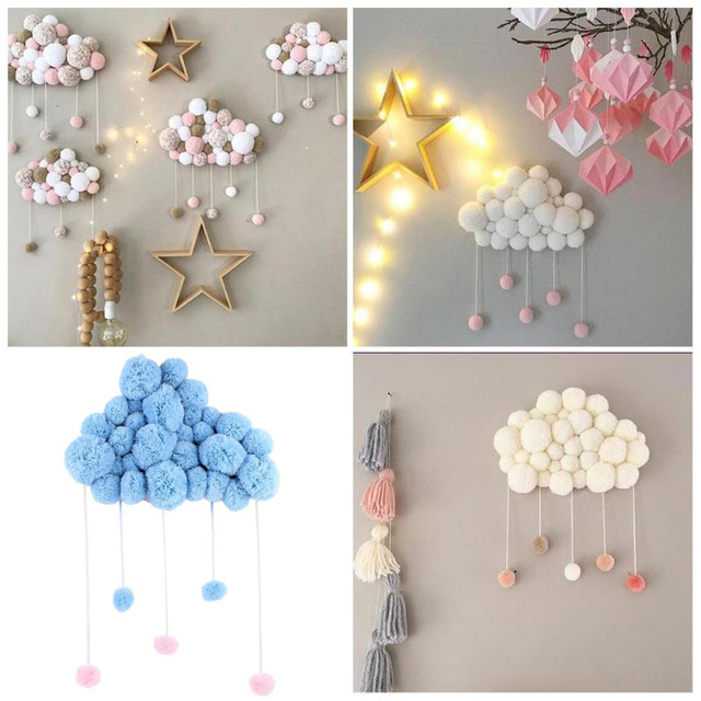 Baby Pillow Kids Room Decoration Handmade Toys Raining Clouds Water Drop  Girls Bed Hanging Teepees Tent Toy For Children