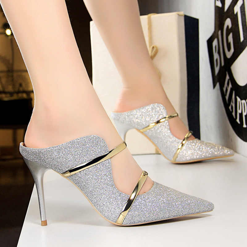 Bigtree 靴セクシーな中空女性はファッションブリンブリン結婚式の靴ゴールドシルバーハイヒールの女性の靴子猫のかかとの女性小剣