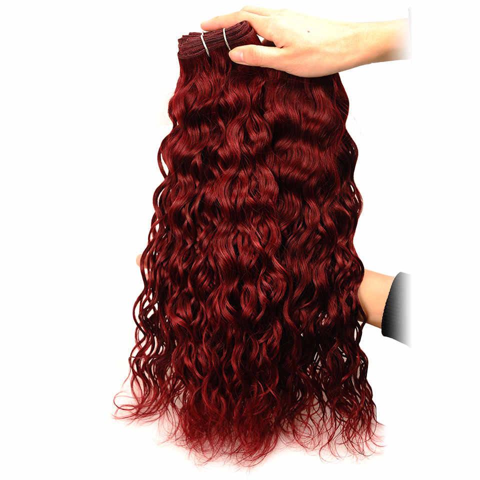 Pinshair бордовые пучки волос влажная волна дерзкий Красный 99J пучки толстые индийские человеческие волосы переплетения для наращивания 3 пучка предложения не Реми