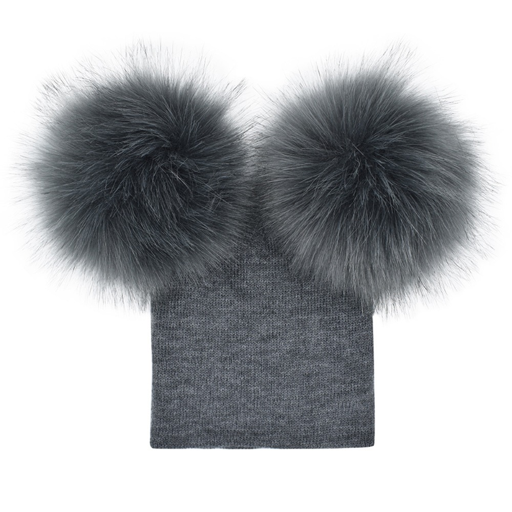 529f6ff74c1 Puseky Winter Warm Beanie Double Ball Earflap Knitted Cap Toddler Newborn  Boys Girls Novel Fuzzy Ball Headdress Fur Pom Pom Hats-in Hats   Caps from  Mother ...