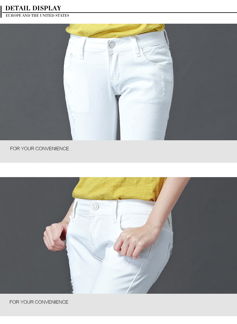 Dongdongta Women Girls White Color Jeans 2017 New Design Summer Original Design Full Length Cotton Mid Waist Skinny Pencil Pants 13