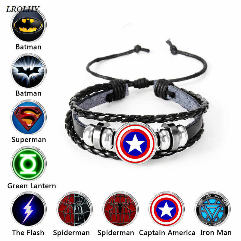 fashion Marvel Avengers bracelet superman batman time gem glass weaving leather Bangle lace-up Jewelry cute gifts for children